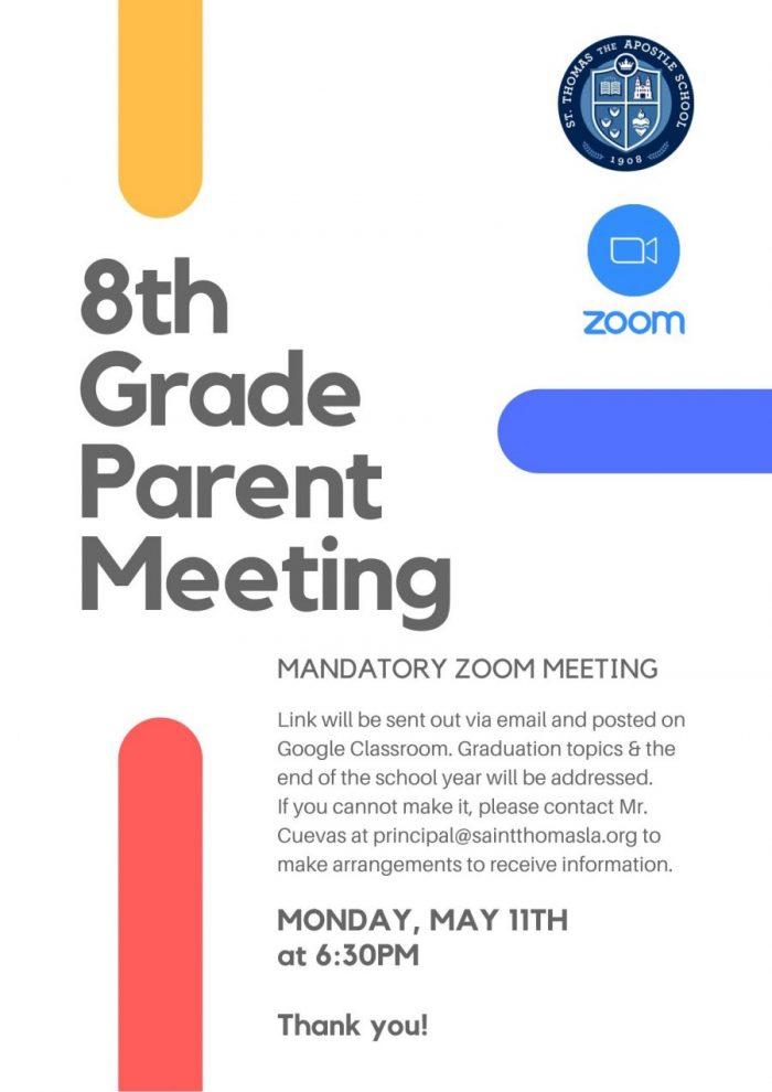 8th Grade Parent Zoom Meeting