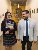 Principal Adrian Cuevas and a student