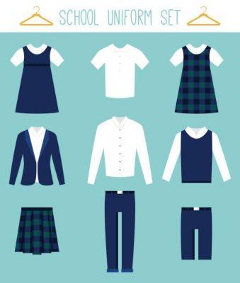 School Uniforms for Children. Kids Clothes Flat Vector Set